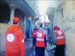 الهلال الأحمر يزور أسر المركب الغارق في قرية برج مغيزلبكفر الشيخ