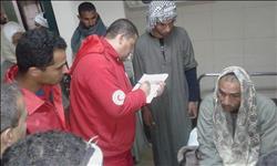 معونات مالية من الهلال الأحمر لإغاثة ضحايا حادث طريق المنيا الصحراوي