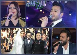 صور| حمادة هلال وتامر عاشور والليثي وبوسي نجوم زفاف «عبدالله وحياة»