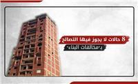 إنفوجراف  8 حالات لا يجوز فيها التصالح بـ«مخالفات البناء»