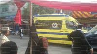 نقل المصابين في حادث تصادم  أمام لجنة بالمطرية للمستشفى