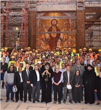 بالصور| البابا تواضروس يتفقد أعمال التطوير والتجديدات بالكاتدرائية المرقسية