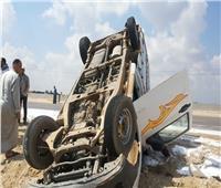 مصرع فلاح وإصابة سائق وطفل فى انقلاب سيارة بالفيوم