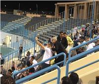 هاني رمزي وأحمد ناجي يحضران مباراة الزمالك والنجوم