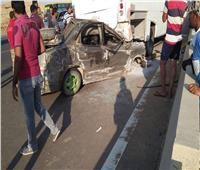إصابة ٩ أشخاص في انقلاب سيارة ميكروباص بطريق السويس