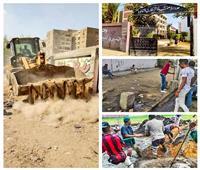صور| صيانة طرق وإنارة شوارع في الهرم.. وإزالة غرز الشاي