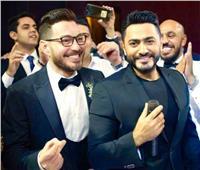 صور| أحمد زاهر يحتفل بزفاف شقيق زوجته.. وتامر حسني ودينا يُشعلان الزفاف
