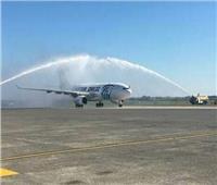 مطار «أوستند» ببلجيكا يحتفل بوصول طائرة مصر للطيران للشحن الجوي الجديدة