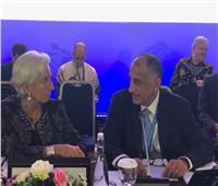 حديث جانبي بين طارق عامر وكريستين لاجارد حول الاقتصاد المصري