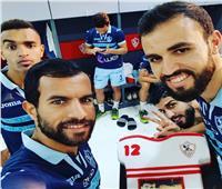 صور| لاعبو الزمالك يحتفلون بعيد ميلاد حمدي النقاز