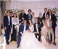 صور| علي ربيع وخالد جلال وطاهر أبو زيد في زفاف «مصطفى وميادة»