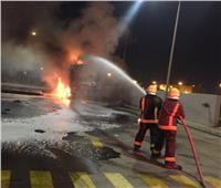 مصرع عامل وإصابة ٥ آخرين في حريق هائل بمحطة وقود بالشرقية