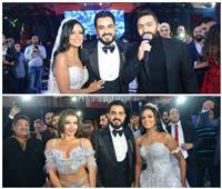 صور| بحضور «رئيس النواب».. تامر حسني والليثي وجوهرة في زفاف «عماد وديان»