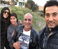 لطفي مع عمرو سعد وروبي في كواليس «حملة فرعون»