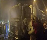 صور  اشتعال النيران في سيارة محملة بالبنزين بدمياط