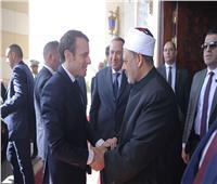 الإمام الأكبر يستقبل الرئيس الفرنسي لدى وصوله مشيخة الأزهر