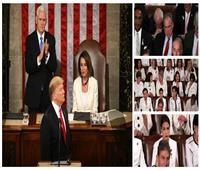 بالصور| «خطاب حالة الاتحاد».. ترامب يُهدد والديمقراطيون يطلون بالأبيض
