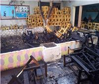 صور| السيطرة على حريق بمدرسة تعليم فني في أسوان