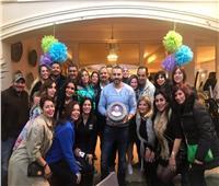 صور| داليا البحيري ولقاء الخميسي وساندي تحتفلن بعيد ميلاد أحمد فريد