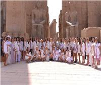 صور| زيارة ملكات «Miss Eco International» لمعبد الأقصر