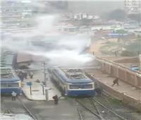 حريق في «ترام الرمل» بالإسكندرية بسبب الأمطار