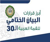 إنفوجراف| أبرز قرارات البيان الختامي للقمة العربية الـ30