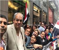 مصريون بالآلاف يستقبلون الرئيس السيسي في واشنطن