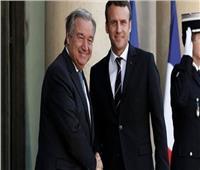 ماكرون وجوتيريس يؤكدان أهمية الحل السياسي للأزمة الليبية