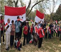 فيديو وصور  الجالية المصرية بواشنطن ترحب بالسيسي أمام مقر إقامته بواشنطن