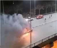 فيديو.. إخماد حريق سيارة أعلى كوبري ثروت