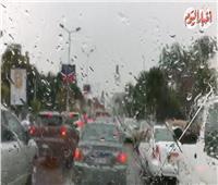 فيديو| الأمطار تغسل شوارع القاهرة.. وحركة بطيئة للمرور