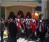 توافد العاملين بالبترول للمشاركة في مؤتمر دعم التعديلات الدستورية بالإسكندرية