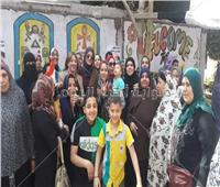 التعديلات الدستورية 2019| احتفالية نسائية أمام لجان مدينة شبرا الخيمة