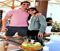 نور الطيب تحتفل بعيد ميلاد علي فرج على هامش بطولة الجونة للإسكواش