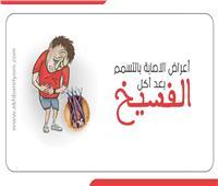 إنفوجراف| أعراض الإصابة بالتسمم بعد أكل الفسيخ