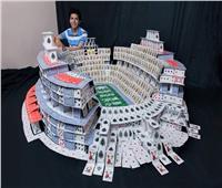 طالب بكفر الشيخ يصمم مجسم استاد مستخدما 22 ألف ورقة كوتشينة