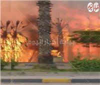 فيديو| مشاهد «مفزعة» لحريق حديقة بشارع الهرم