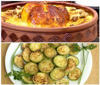 فطارك عندنا| طاجن الأرز المعمر بالدجاج والقشطة - الكوسا المقلية بالليمون