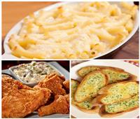 فطارك عندنا | مكرونة بالجبنة - بروستد الدجاج المقرمش - الخبز بنكهة الثوم