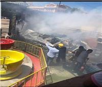 صور| السيطرة على حريق بملاهي الأطفال في نادي الاتحاد السكندري