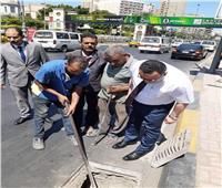 جولة مفاجئة لمحافظ الإسكندرية لمتابعة أعمال تطهير الشنايش بالأنفاق