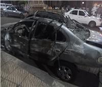 صور| تحطم السيارات أمام معهد الأورام عقب حادث التصادم