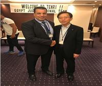 محافظ مدينة تنري اليابانية يستقبل المنتخب الوطني للجودو