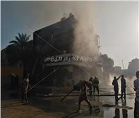 الصور الأولى لحريق أحد محال الأقمشة في «بولاق»