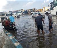 إزالة تجمعات مياه الأمطار بشوارع وميادين مطروح