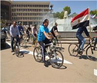 انطلاق ماراثون الدراجات بجامعة أسيوط