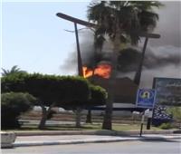 حريق يلتهم مجسم «مركب السمسمية» في السويس