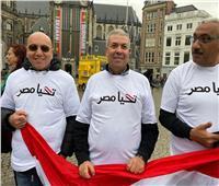 احتفالا بنصر أكتوبر.. الأعلام المصرية أمام القصر الملكي بأمستردام