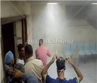 صور| السيطرة على حريق في المستشفى الجامعي ببني سويف