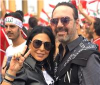 وائل جسار وزوجته يشاركان في مظاهرات لبنان